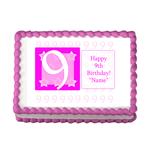 9TH BIRTHDAY PINK EDIBLE IMAGE PARTY SUPPLIES