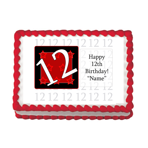 12TH BIRTHDAY RED EDIBLE IMAGE PARTY SUPPLIES