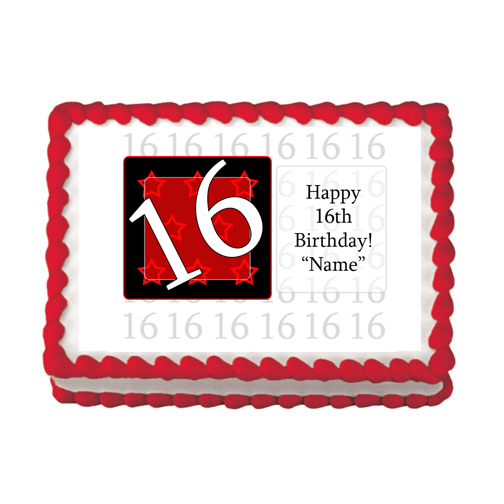16TH BIRTHDAY RED EDIBLE IMAGE PARTY SUPPLIES
