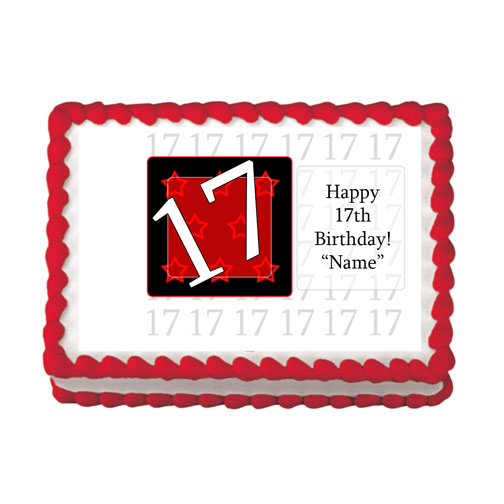 17TH BIRTHDAY RED EDIBLE IMAGE PARTY SUPPLIES