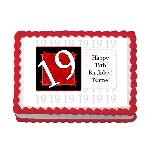 19TH BIRTHDAY RED EDIBLE IMAGE PARTY SUPPLIES