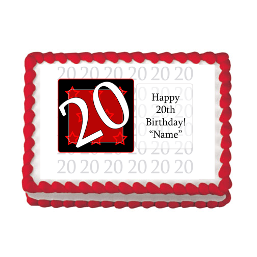 20TH BIRTHDAY RED EDIBLE IMAGE PARTY SUPPLIES
