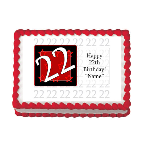 22ND BIRTHDAY RED EDIBLE IMAGE PARTY SUPPLIES