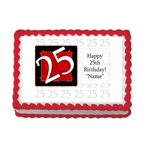 25TH BIRTHDAY RED EDIBLE IMAGE PARTY SUPPLIES