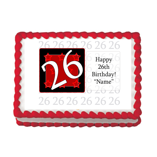 26TH BIRTHDAY RED EDIBLE IMAGE PARTY SUPPLIES