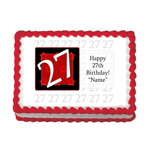 27TH BIRTHDAY RED EDIBLE IMAGE PARTY SUPPLIES