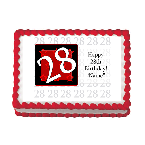 28TH BIRTHDAY RED EDIBLE IMAGE PARTY SUPPLIES