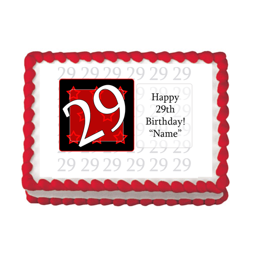 29TH BIRTHDAY RED EDIBLE IMAGE PARTY SUPPLIES