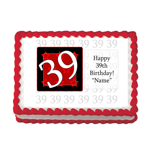 39TH BIRTHDAY RED EDIBLE IMAGE PARTY SUPPLIES