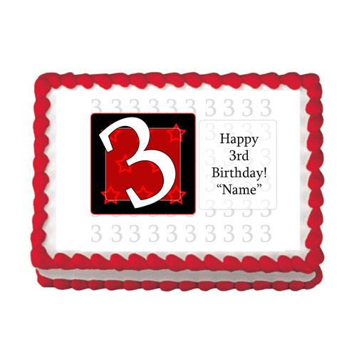 3RD BIRTHDAY RED EDIBLE IMAGE PARTY SUPPLIES