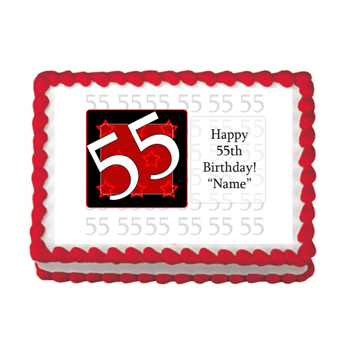 Click For Larger Picture Of 55TH BIRTHDAY RED EDIBLE IMAGE PARTY SUPPLIES