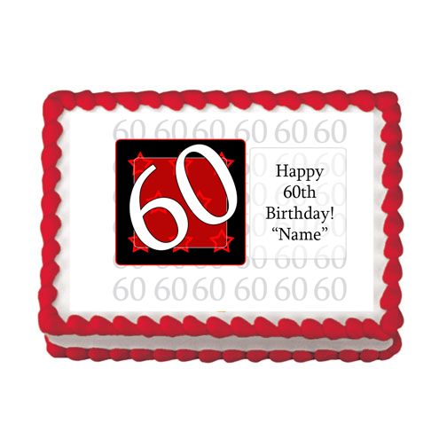 60TH BIRTHDAY RED EDIBLE IMAGE PARTY SUPPLIES