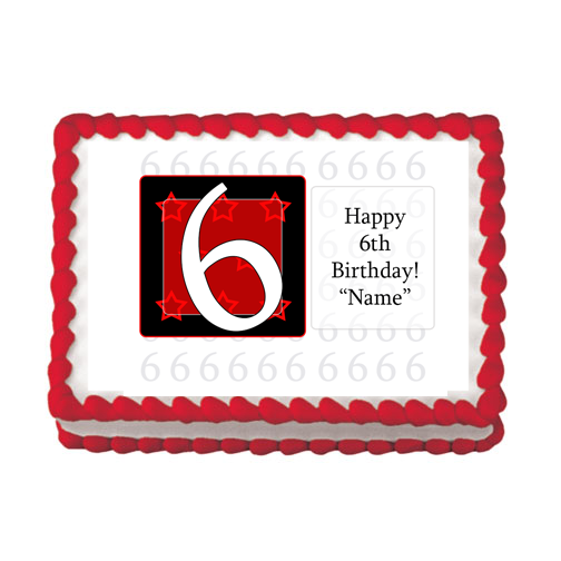 6TH BIRTHDAY RED EDIBLE IMAGE PARTY SUPPLIES