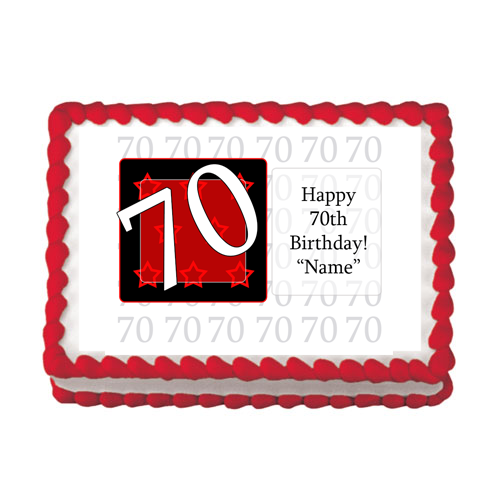 70TH BIRTHDAY RED EDIBLE IMAGE PARTY SUPPLIES