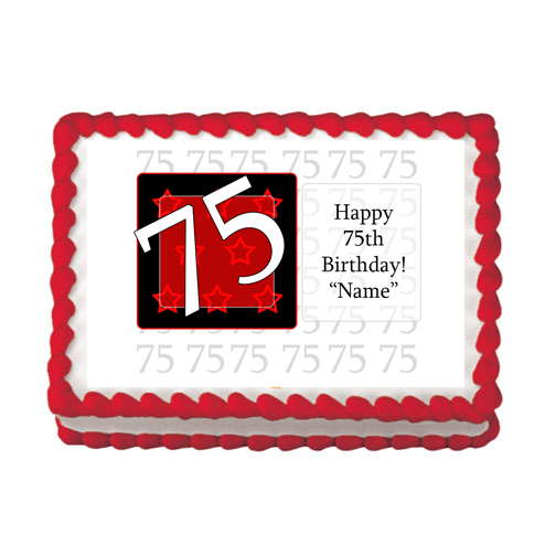 75TH BIRTHDAY RED EDIBLE IMAGE PARTY SUPPLIES