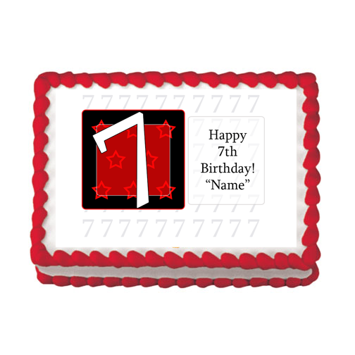 7TH BIRTHDAY RED EDIBLE IMAGE PARTY SUPPLIES
