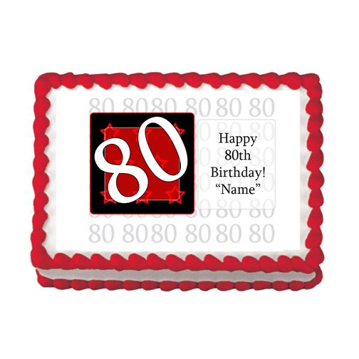 80TH BIRTHDAY RED EDIBLE IMAGE PARTY SUPPLIES