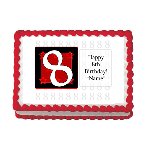 8TH BIRTHDAY RED EDIBLE IMAGE PARTY SUPPLIES