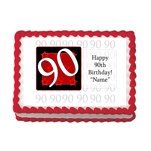 90TH BIRTHDAY RED EDIBLE IMAGE PARTY SUPPLIES