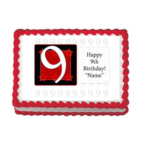 9TH BIRTHDAY RED EDIBLE IMAGE PARTY SUPPLIES