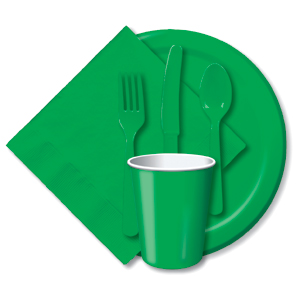 BULK EMERALD GREEN TABLEWARE