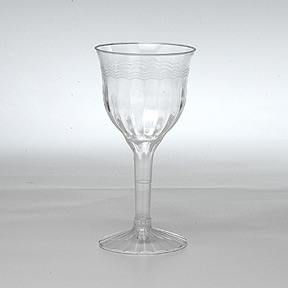 Click for larger picture of FLUTED 6OZ WINE GLASS (2 PIECE) PARTY SUPPLIES
