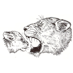 Click for larger picture of DISCONTINUED LIONESS ROARNG AT CUB STAMP PARTY SUPPLIES
