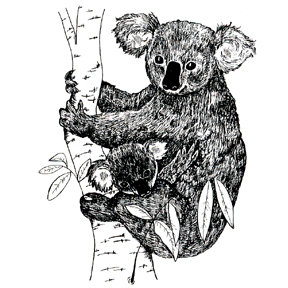 Click for larger picture of DISCONTINUED LARGE KOALA BEAR BABY STAMP PARTY SUPPLIES