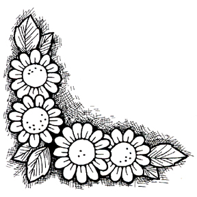 Click for larger picture of DISCONTINUED FLORAL CORNER RUBBER STAMP PARTY SUPPLIES