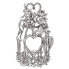 Click for larger picture of DISCONTINUED BIRD CAGE HEART RBBR STAMP PARTY SUPPLIES