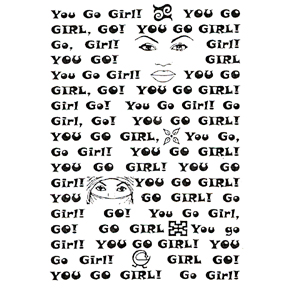 DISCONTINUED YOU GO GIRL MEDIUM  STAMP PARTY SUPPLIES