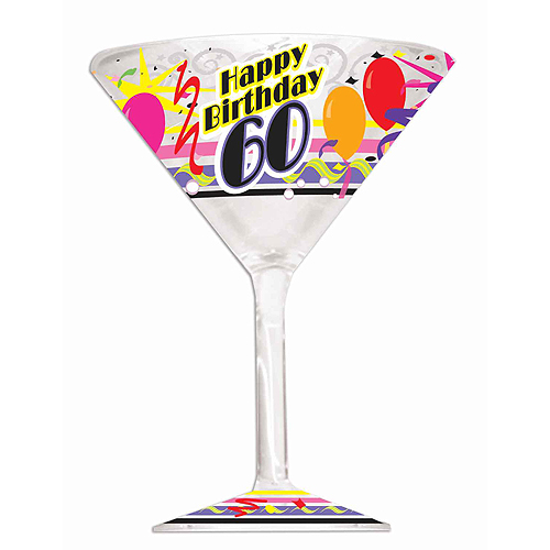 Click For Larger Picture Of DISCONTINUED 60TH BIRTHDAY MARTINI GLASS PARTY SUPPLIES