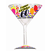 60TH BIRTHDAY PLASTIC MARTINI GLASS FAVO PARTY SUPPLIES