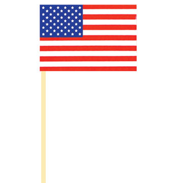 Click for larger picture of USA HANDHELD FLAG CLOTH  (4X6 IN.) PARTY SUPPLIES