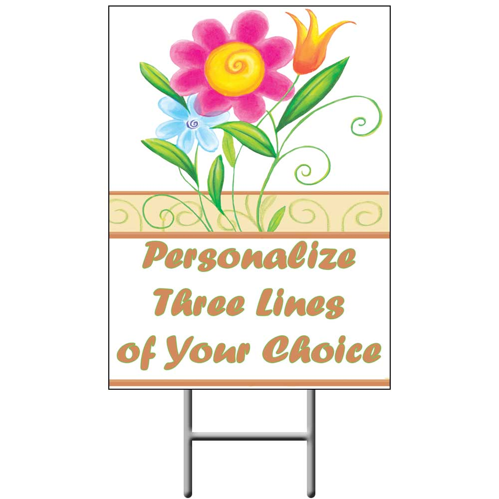 Click for larger picture of FLORAL YARD SIGN PARTY SUPPLIES
