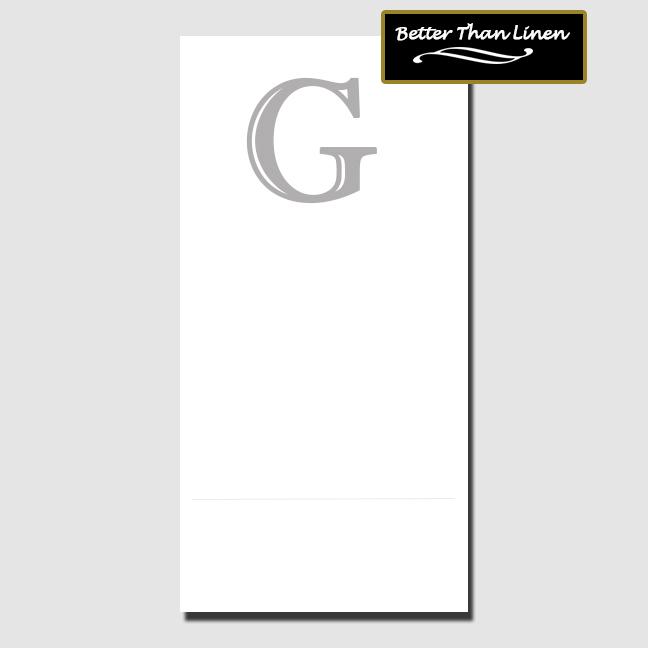 Click for larger picture of G BETTER THAN LINEN MONOGRAM GUEST TOWEL PARTY SUPPLIES