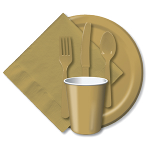 BULK GLITTERING GOLD TABLEWARE
