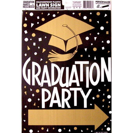 click for larger picture of graduation party arrow sign party supplies
