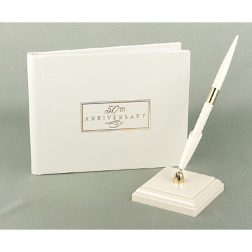 Click for larger picture of 50TH ANNIV SMALL IVORY GUEST BOOK PARTY SUPPLIES