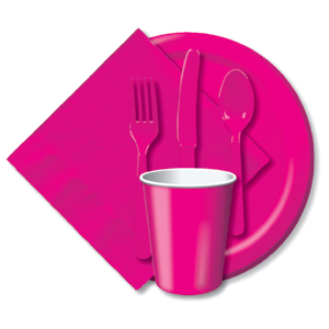BULK HOT PINK TABLEWARE
