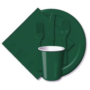 BULK HUNTER GREEN TABLEWARE
