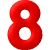 DISCONTINUED INFLATABLE NUMBERS RED 8 PARTY SUPPLIES