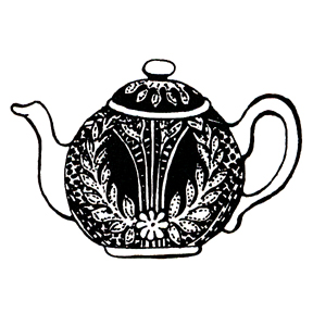 Click for larger picture of DISCONTINUED LACE TEAPOT RUBBER STAMP PARTY SUPPLIES