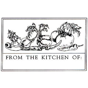 Click for larger picture of DISCONTINUED KITCHEN LABEL 1 RBBR STAMP PARTY SUPPLIES