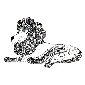Click for larger picture of DISCONTINUED LION RUBBER STAMP PARTY SUPPLIES