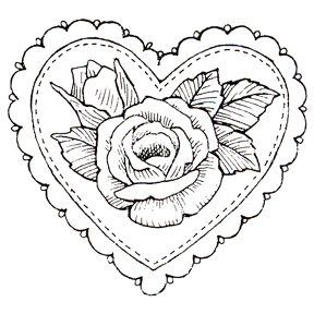 Click for larger picture of DISCONTINUED ROSE HEART DOILY  STAMP PARTY SUPPLIES