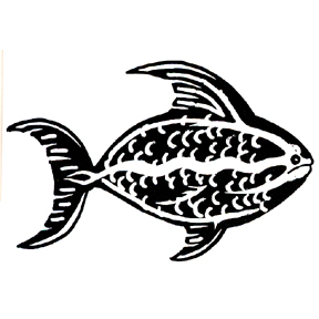 DISCONTINUED FABRIC FISH RUBBER STAMP PARTY SUPPLIES