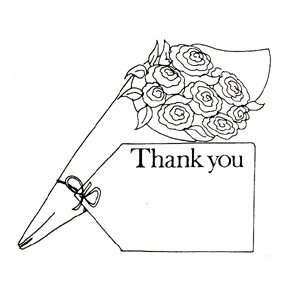 DISCONTINUED THANK YOU W/BOUQUET STAMP PARTY SUPPLIES