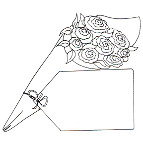 DISCONTINUED ROSES W/TAG RUBBER STAMP PARTY SUPPLIES