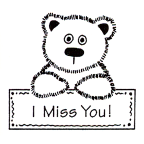 DISCONTINUED I MISS YOU RUBBER STAMP PARTY SUPPLIES